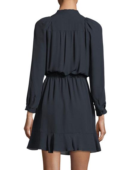 Long-Sleeve Double-Georgette Flutter-Hem Dress