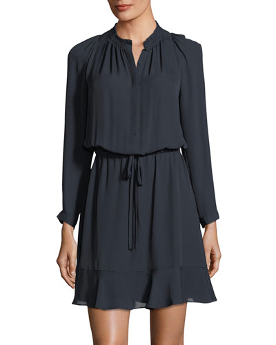 Long-Sleeve Double-Georgette Flutter-Hem Dress