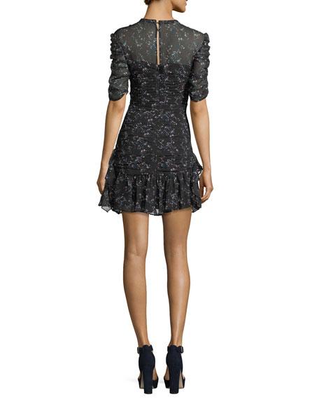 Juneberry Floral-Print Silk Short Dress