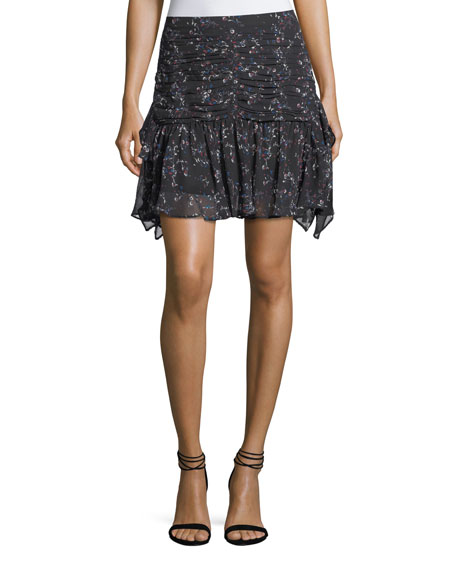 Abby Juneberry Printed Silk Mini Skirt