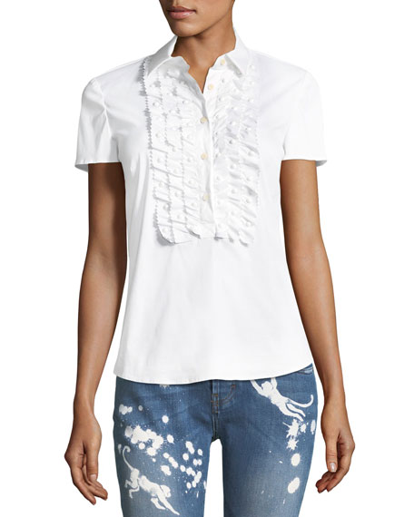 Ruffle-Front Cotton Blouse