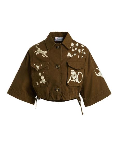 Monkey-Print Cotton Canvas Short Jacket