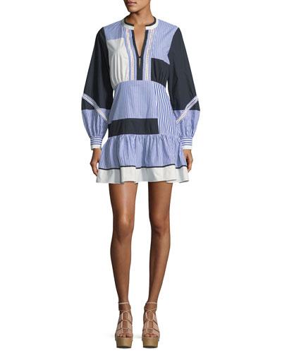 Yaya Split-Neck Full-Sleeve Menswear-Stripe Dress