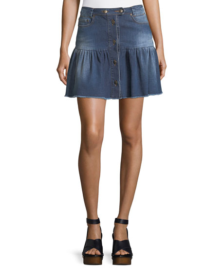 Stone-Washed Button-Front Denim Skirt