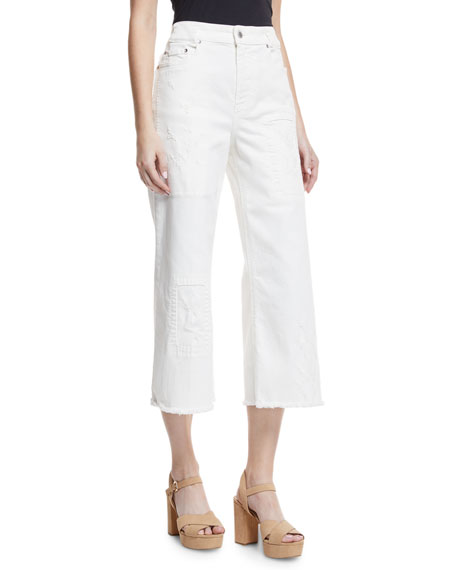 Wide-Leg Distressed Crop Jeans