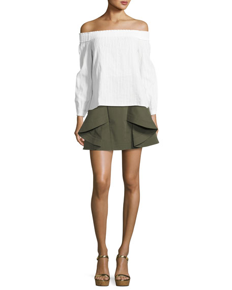 Tomi Flared Cotton Twill Mini Skirt