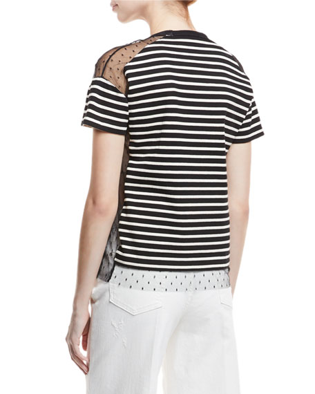 Point d'Esprit-Inset Striped T-Shirt