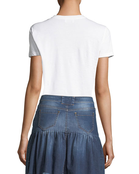 Bow-Embellished Jersey T-Shirt