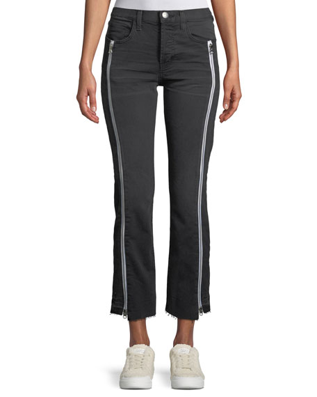 The Dallon Mid-Rise Straight-Leg Jeans with Zipper Details