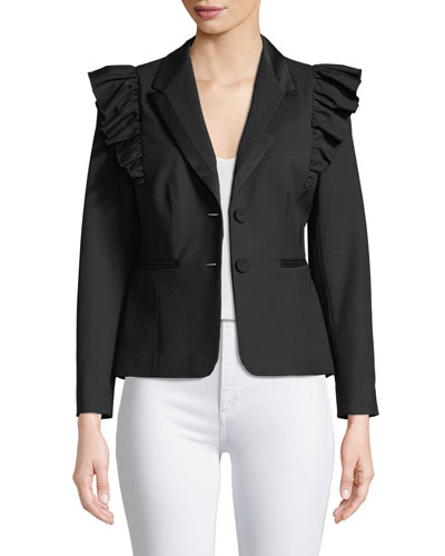 Ruffled Stretch-Wool Jacket