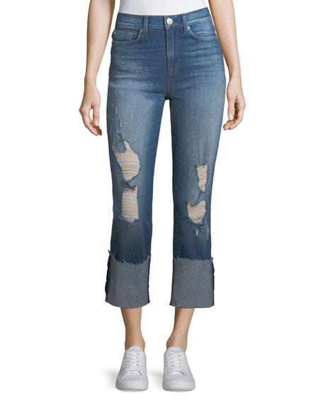 Zoeey Deep-Cuff Straight-Leg Crop Jeans
