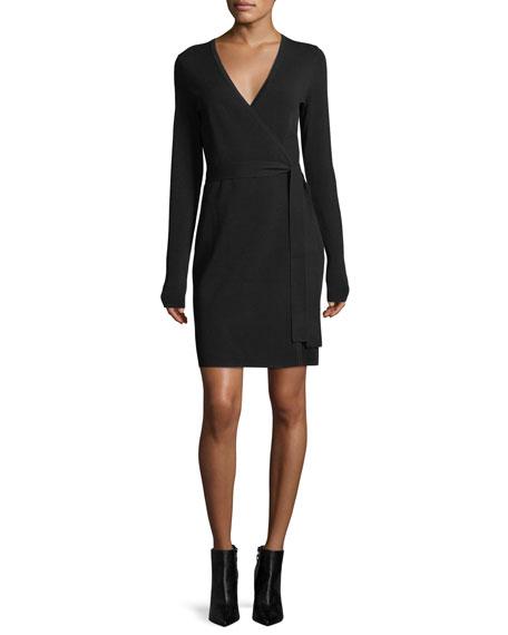 Long-Sleeve Knit Wrap Dress