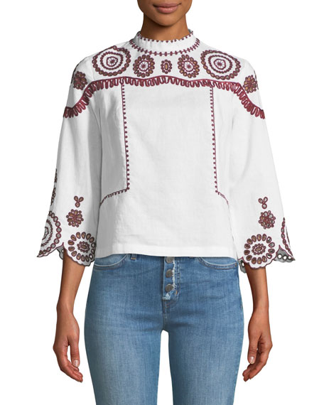 Edelson Mock-Neck Embroidered Top