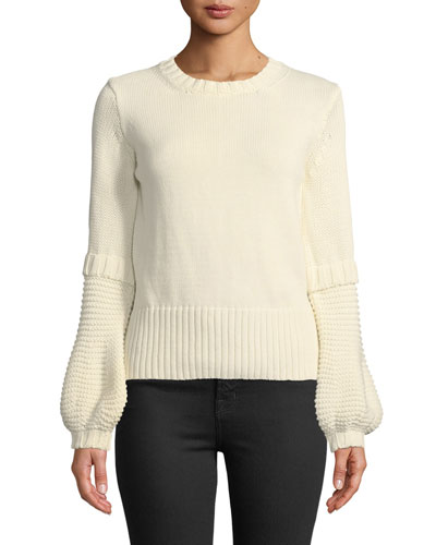 Leeson Balloon-Sleeve Cotton Sweater