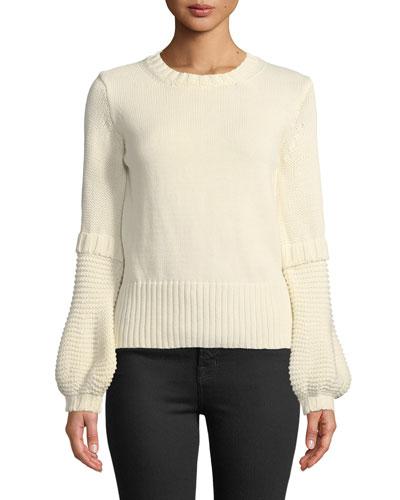 Leeson Balloon-Sleeve Cotton Sweater