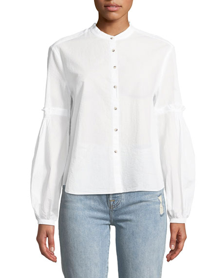 Esther Seersucker Balloon-Sleeve Shirt