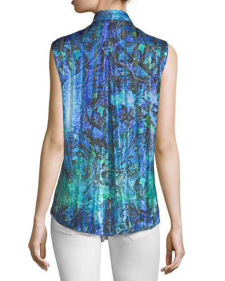 Ellis Graphic-Print Sleeveless Silk Blouse