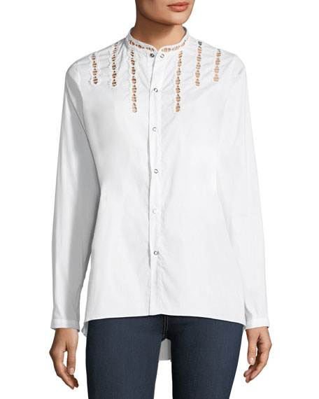 Helena Snap-Front Stitch-Cutouts Blouse