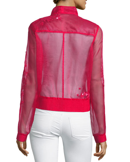 Suri Long-Sleeve Floral  Organza Jacket