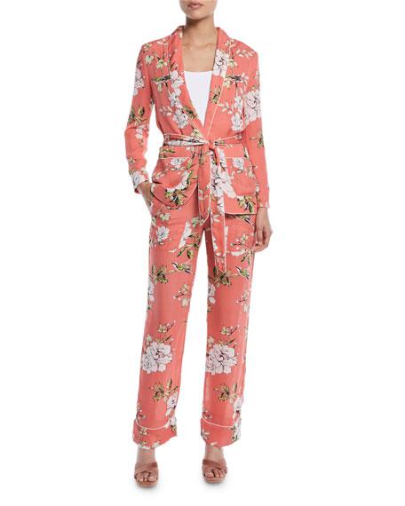 Daltona Silk Floral-Print Lounge Pants