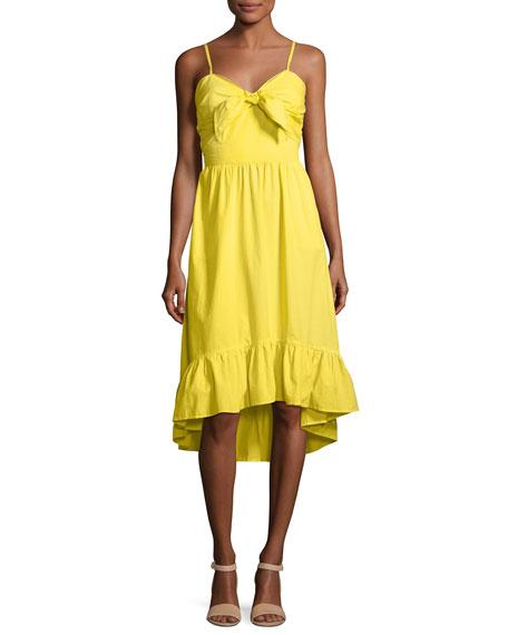 Clorinda Ruffle-Hem High-Low Cotton Sun Dress