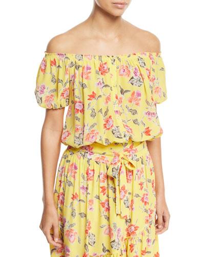 Derfuta Off-the-Shoulder Short-Sleeve Floral-Print Silk Top