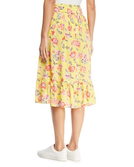 Denisha Floral-Print Silk Flounce Skirt