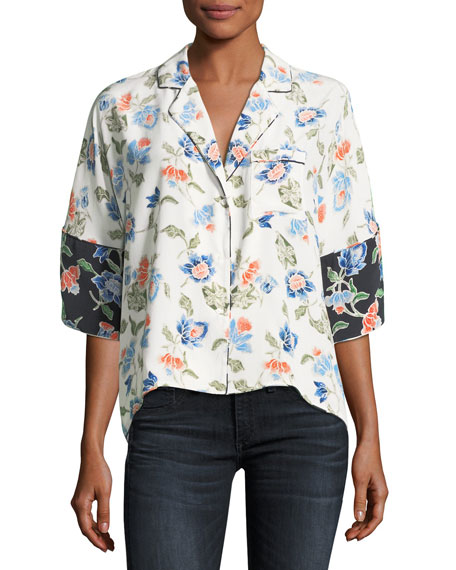 Desmonda 3/4-Sleeve Floral Silk Top