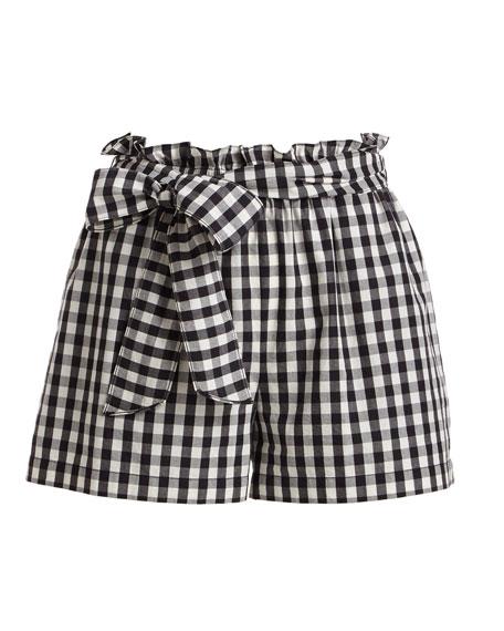 Cleantha Check Cotton Tie-Waist Shorts