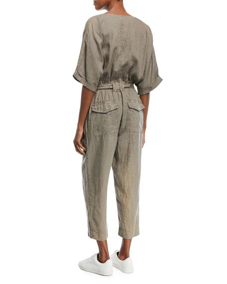 Frodina Elbow-Sleeve Straight-Leg Linen Jumpsuit