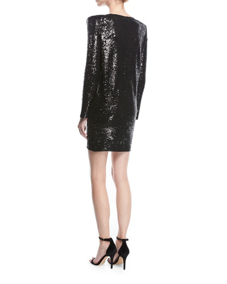 Nobila Plunging Long-Sleeve Sequined Cocktail Dress