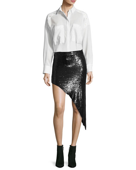 Notrea Sequined Asymmetric Skirt