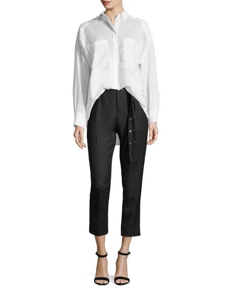 Lana High-Waist Straight-Leg Wool Ankle Pants