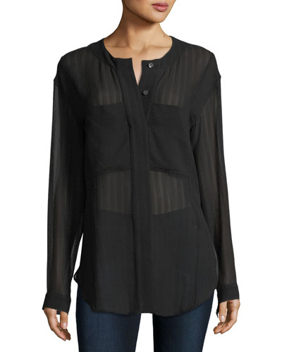Pebbled Seersucker Minimal Button-Down Semisheer Blouse