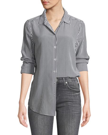 Essential Button-Front Striped Silk Shirt
