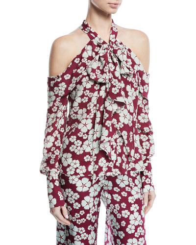 Paloma Tie-Neck Cold-Shoulder Silk Top