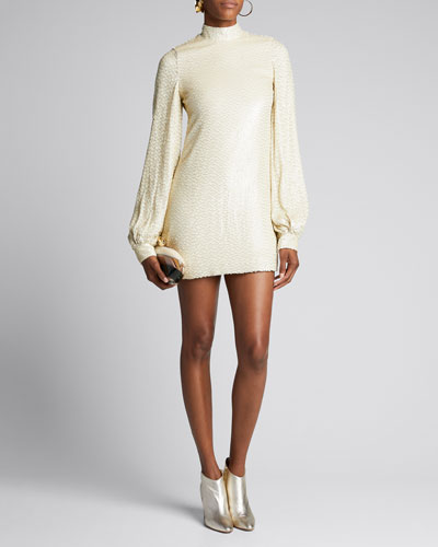 Alyna Mock-Neck Beaded Silk Dress
