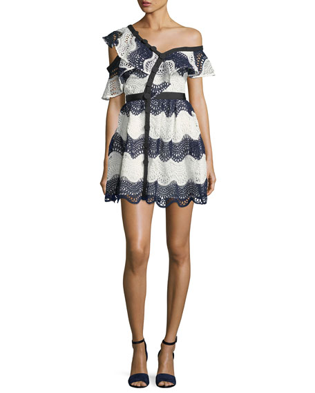 Wave Lace Frill One-Shoulder Cocktail Mini Dress