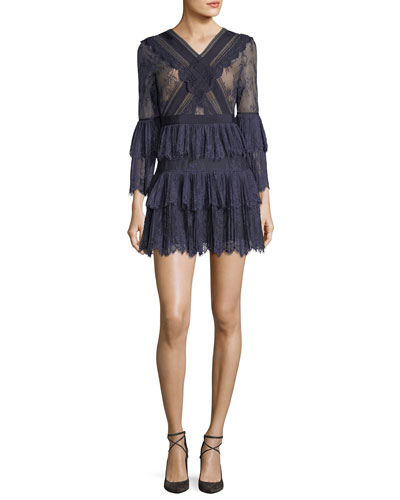 Trimmed Fine Lace Fit-and-Flare Cocktail Dress
