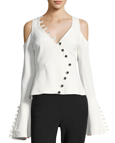 Noere Bell-Sleeve V-Neck Top with Button Trim