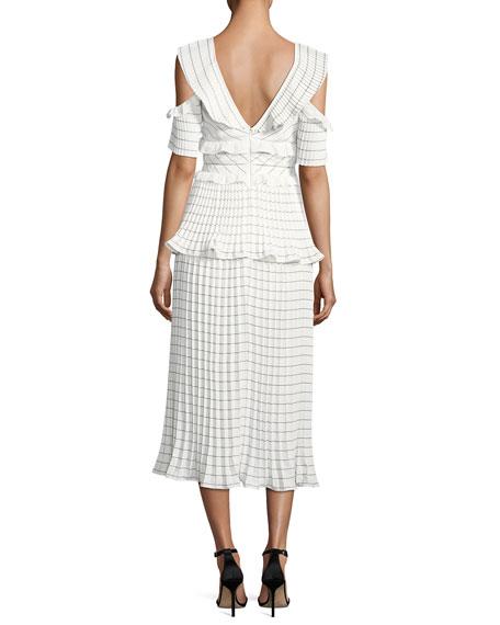 Monochrome Striped Pleated Midi Cocktail Dress