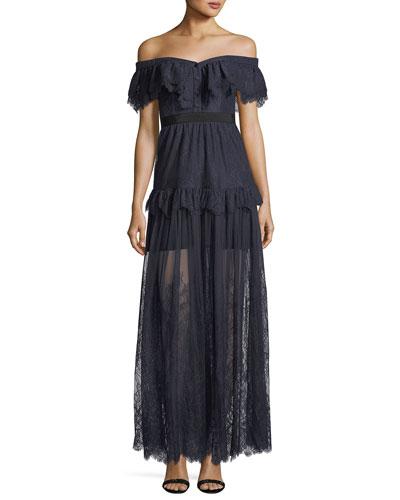 Off-the-Shoulder Fine Lace Cocktail Maxi Dress