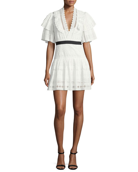Broderie Anglaise Striped Cotton Cocktail Dress