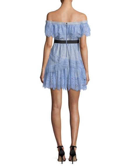 32bdb20ce9e8 Self-Portrait Off-the-Shoulder Fine Lace Mini Dress