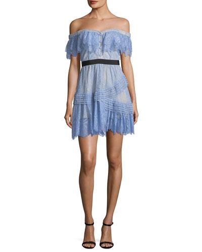Off-the-Shoulder Fine Lace Mini Dress