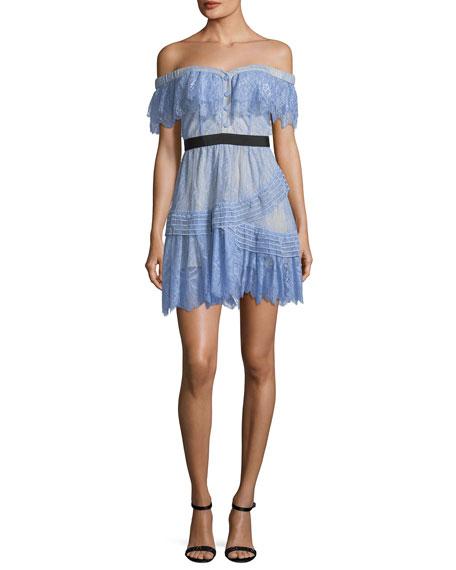 02e515903c2a Self-Portrait Off-the-Shoulder Fine Lace Mini Dress