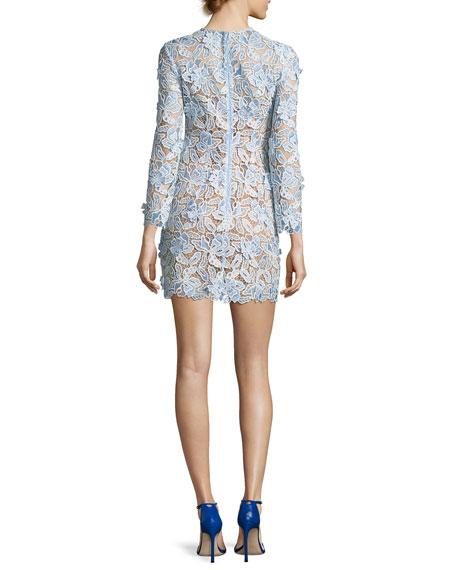 3-D Lily Guipure Mini Sheath Dress