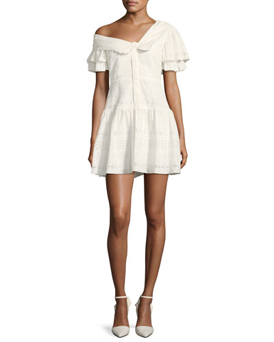 One-Shoulder Broderie Anglaise Mini Dress