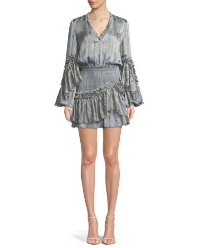 Leannie Ruffle Long-Sleeve Mini Dress