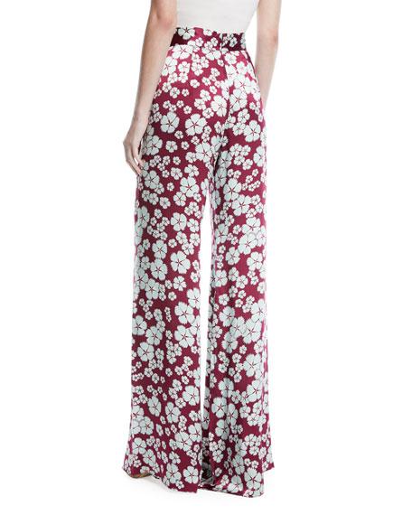 Nesta High-Waist Wide-Leg Floral-Print Silk Pants